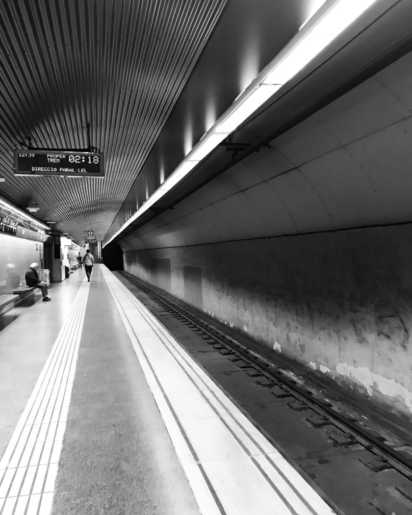 Barcelona metro black and white old symmetry